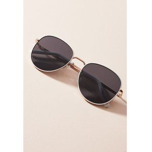 Anthropologie Joelle Round Sunglasses Gold/White